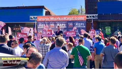 U.S. Marine Marko Kepi Announces Run for New York State Assembly in front of a roaring crowd of more than 500 supporters.